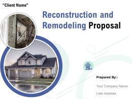 Reconstruction And Remodeling Proposal Powerpoint Presentation Slides
