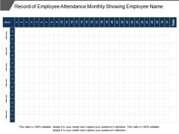 Record Of Employee Attendance Monthly Showing Employee Name