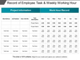 Record Of Employee Task And Weekly Working Hour