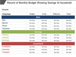 Record Of Monthly Budget Showing Savings And Household