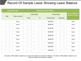 Record Of Sample Leave Showing Leave Balance