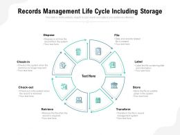 Records Management Life Cycle Including Storage