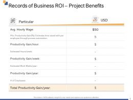 Records Of Business Roi Project Benefits Ppt Powerpoint Presentation Introduction