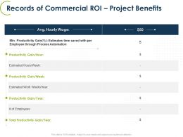 Records Of Commercial Roi Project Benefits Ppt Powerpoint Presentation Grid
