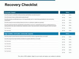 Recovery Checklist Business Opportunities Ppt Powerpoint Presentation Gallery Portfolio