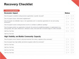 Recovery Checklist Capacity Visibility Ppt Powerpoint Presentation Gallery Objects