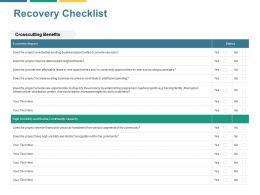 Recovery Checklist Community Capacity Ppt Powerpoint Presentation File Structure