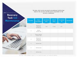 Recovery Task List Maintenance Time Ppt File Brochure