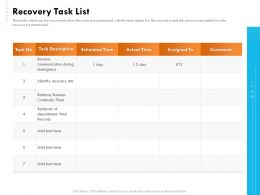 Recovery Task List Time Ppt Powerpoint Presentation File Formats