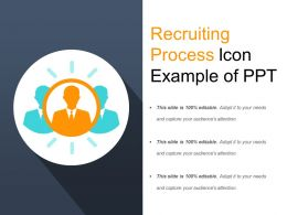 Recruiting Process Icon Example Of Ppt