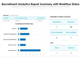 Recruitment Analytics Report Summary With Workflow Status