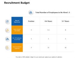 Recruitment Budget Experience Ppt Powerpoint Presentation Ideas