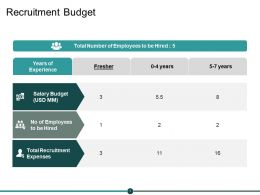Recruitment Budget Ppt Powerpoint Presentation Visual Aids Icon