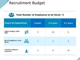 Recruitment Budget Presentation Visual Aids