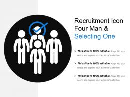 Recruitment Icon Four Man And Selecting One