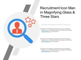 Recruitment Icon Man In Magnifying Glass And Three Stars