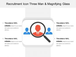 Recruitment Icon Three Man And Magnifying Glass