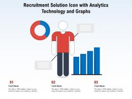 Recruitment Solution Icon With Analytics Technology And Graphs