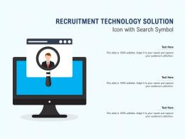 Recruitment Technology Solution Icon With Search Symbol