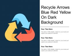 Recycle Arrows Blue Red Yellow On Dark Background