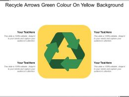 Recycle Arrows Green Colour On Yellow Background