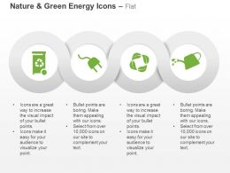 Recycle Bin Power Plug Water Eco Leaves Ppt Icons Graphics