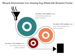 Recycle Environment Icon Showing Cog Wheel With Emission Funnel