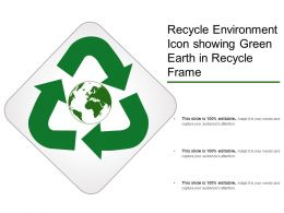Recycle Environment Icon Showing Green Earth In Recycle Frame