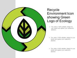 Recycle Environment Icon Showing Green Logo Of Ecology