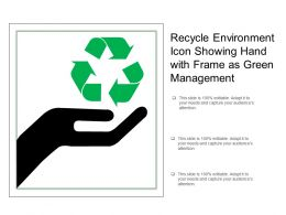 Recycle Environment Icon Showing Hand With Frame As Green Management