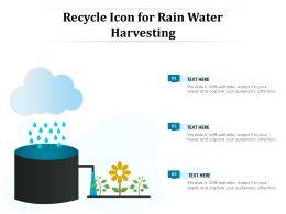 Recycle Icon For Rain Water Harvesting