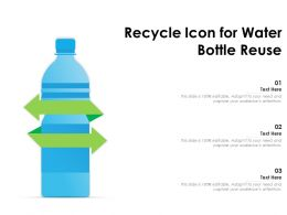 Recycle Icon For Water Bottle Reuse