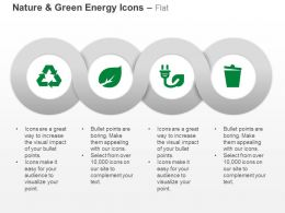 Recycle Leaf Power Cord Dustbin Ppt Icons Graphics