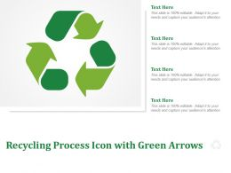 Recycling Process Icon With Green Arrows
