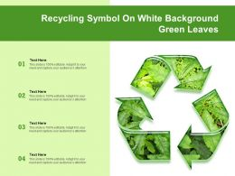 Recycling Symbol On White Background Green Leaves