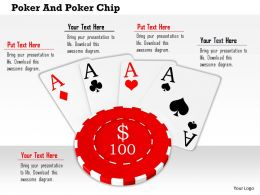 Red 100 Dollar Poker Chip On Four Aces