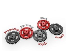 Red And Black Gears Showing 4ps Of Marketing Stock Photo