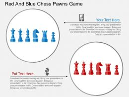 Red And Blue Chess Pawns Game Flat Powerpoint Design