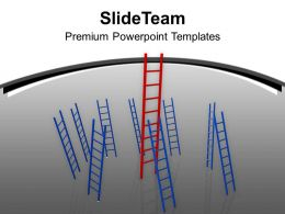 Red And Blue Ladders On Grey Background PowerPoint Templates PPT Themes And Graphics 0213