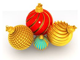 Red And Golden Balls For Christmas Celebration Stock Photo