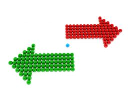 Red And Green Arrows In Different Directions Stock Photo