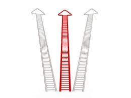 Red And White Arrows With Stair Design For Success Stock Photo