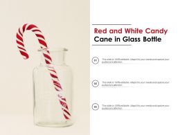 Red And White Candy Cane In Glass Bottle