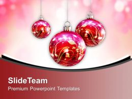 Red And White Christmas Balls Decoration PowerPoint Templates PPT Themes And Graphics 0113