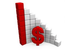 Red And White Cubes As Bar Graph With Dollar Symbol Stock Photo