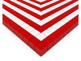 Red And White Cubes Making Square Pattern Stock Photo