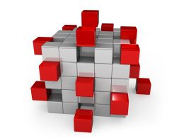Red And White Cubes On White Background Stock Photo
