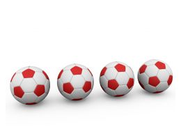 Red And White Footballs Stock Photo