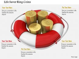 Red And White Life Saving Ring With Dollar Gold Coins