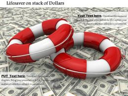 Red And White Lifesaver Belts On Dollar Bills